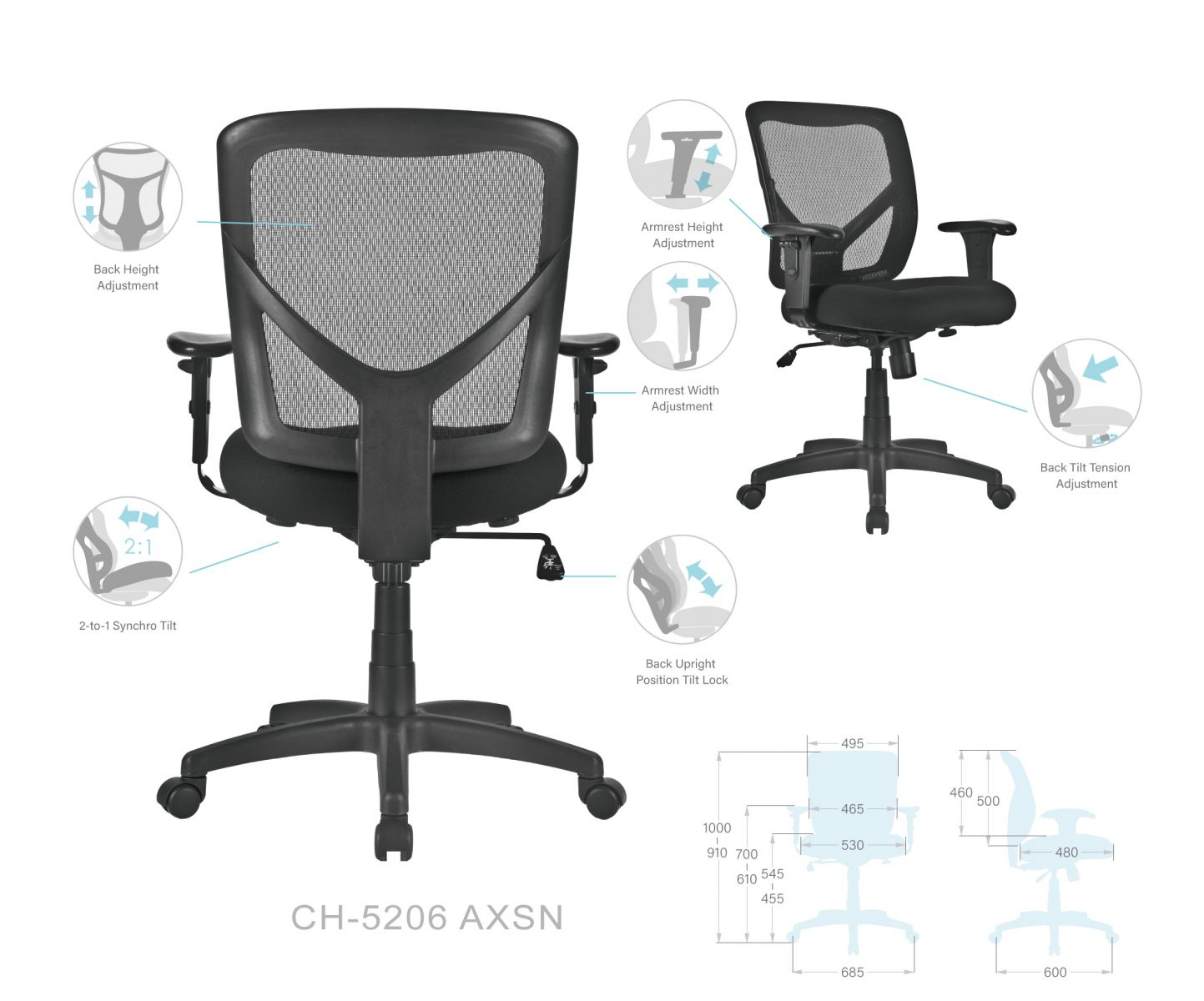 Picture of: Ch 5206axsn Mesh Task Chairs Products Chueng Shine Website